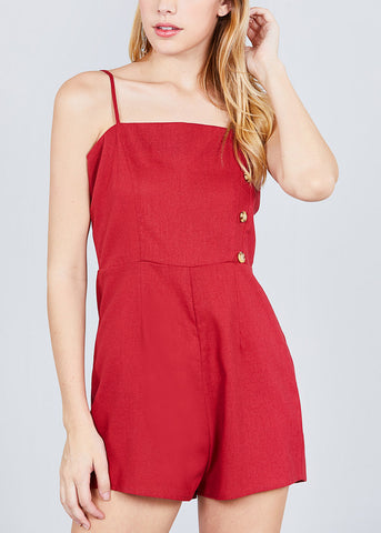 Image of Side Button Detail Red Linen Romper
