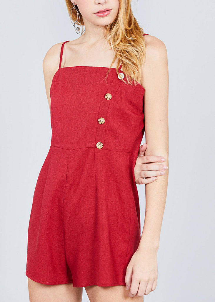 Side Button Detail Red Linen Romper