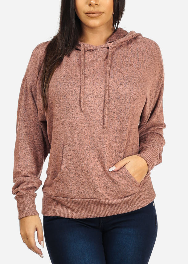 Casual Hooded Pink Sweatshirt