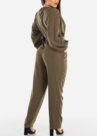 Image of Lightweight Olive Jumpsuit