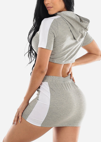 Grey Crop Top & Mini Skirt (2 PCE SET)