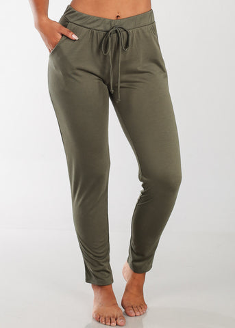 Casual Stretchy Olive Pants