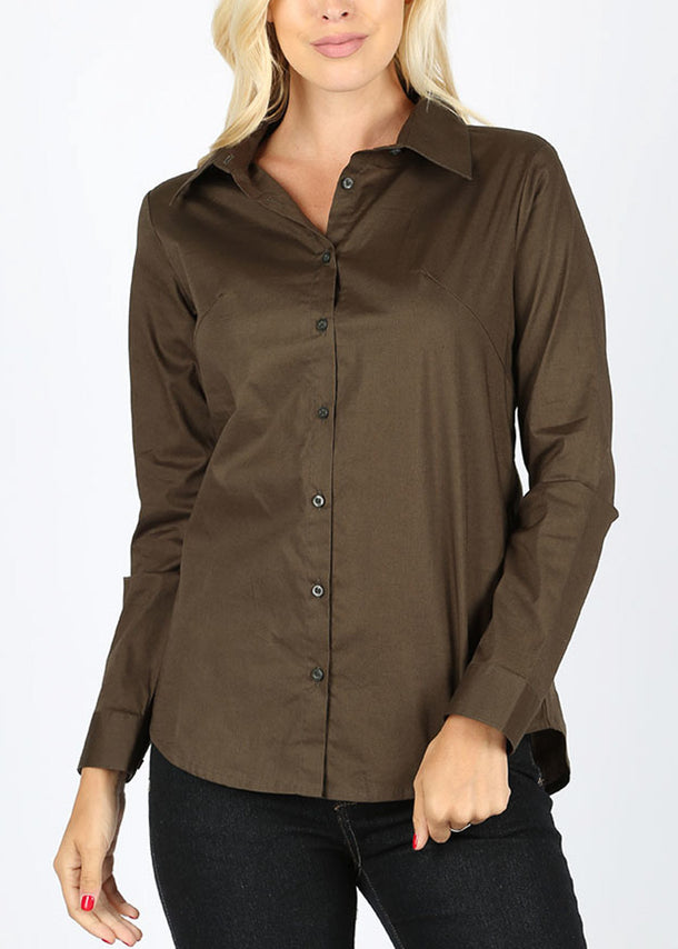 Missy Fit Button Up Olive Shirt