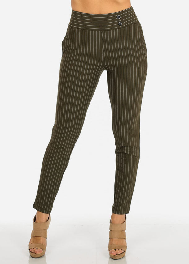 Olive High Waist Pinstripe Pants