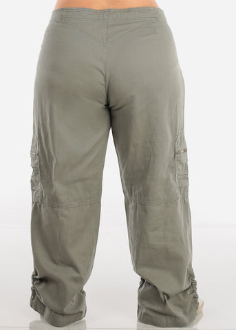 Image of Plus Size Drawstring Leg Olive Cargo Pants 9206XOLV