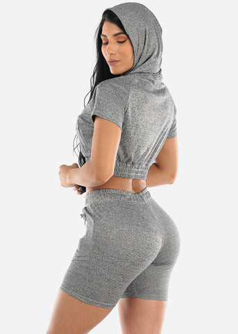 Grey Crop Hoodie & Bermuda Shorts (2 PCE SET)
