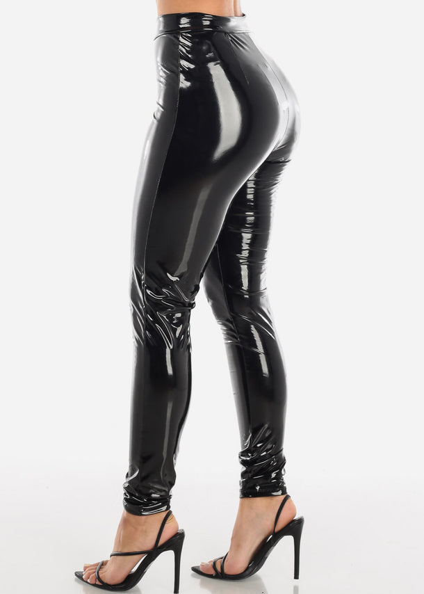 Glossy Pleather Black Pants