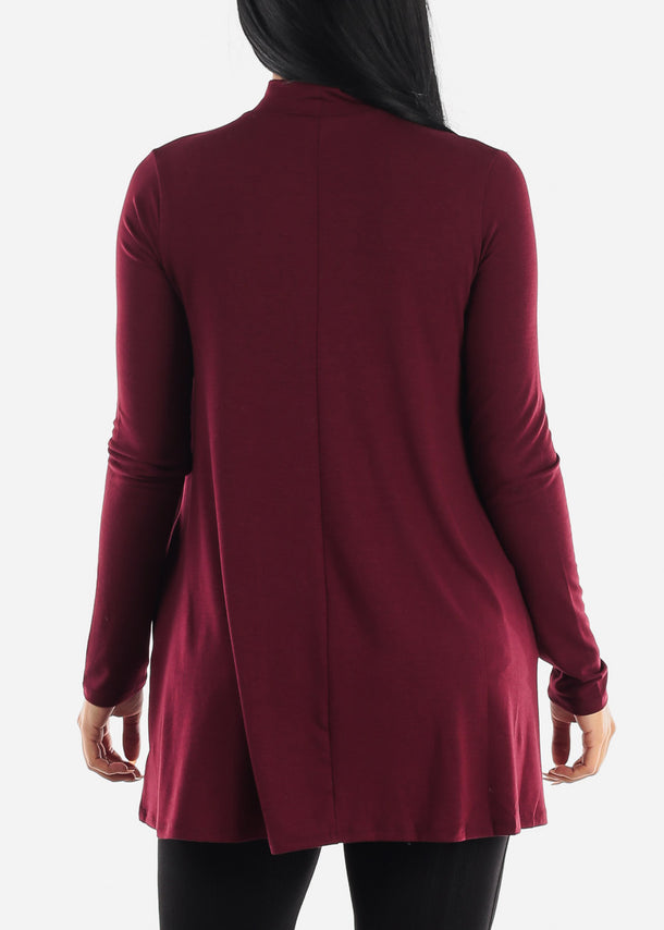 Burgundy Mock Neck Hip Tunic Top