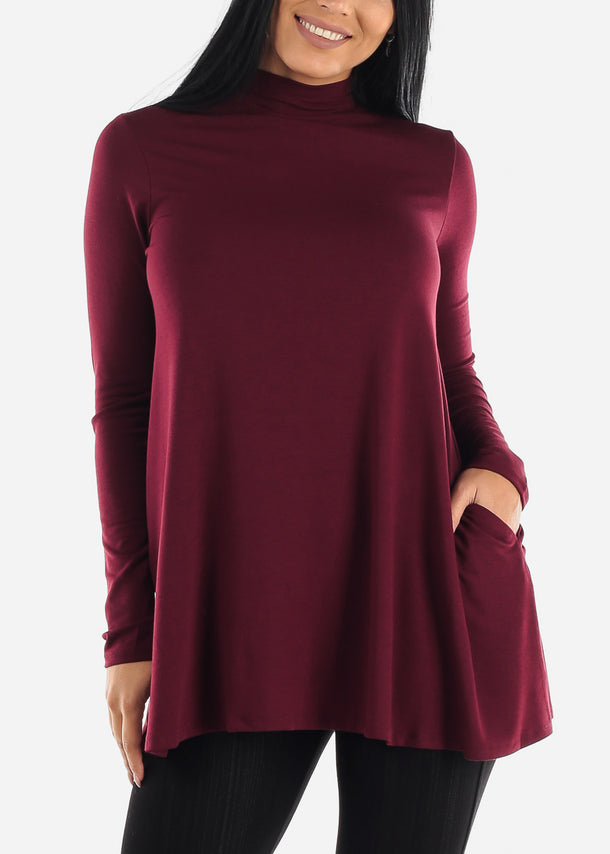 Burgundy Mock Neck Hip Long Sweater
