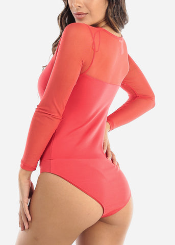 Image of Partial Mesh Coral Bodysuit