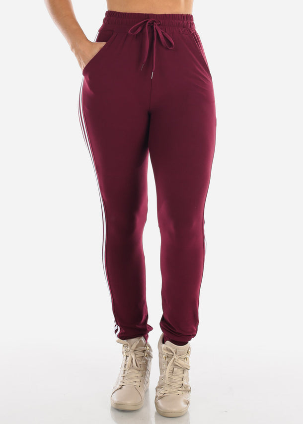 Stripe Burgundy Jogger Pants