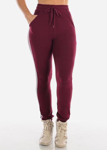 High Waisted Side Stripe Stretchy Burgundy Jogger Pants Activewear