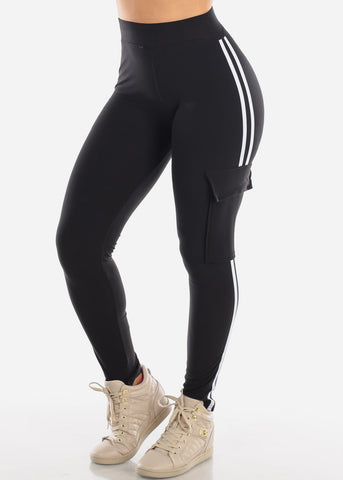 High Waisted Cargo Style Stretchy Side Stripe Work Out Black Pants