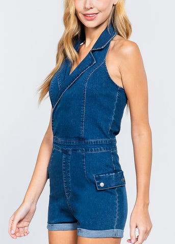 Denim V-Neck Romper