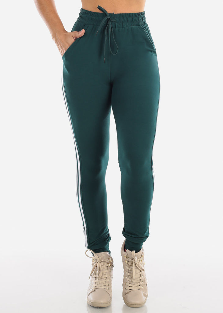 High Waisted Side Stripe Stretchy Dark Green Jogger Pants Activewear