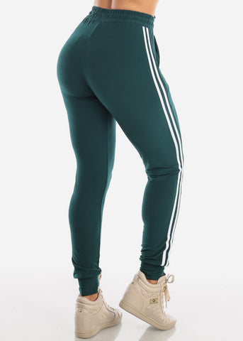 Stripe Dark Green Jogger Pants