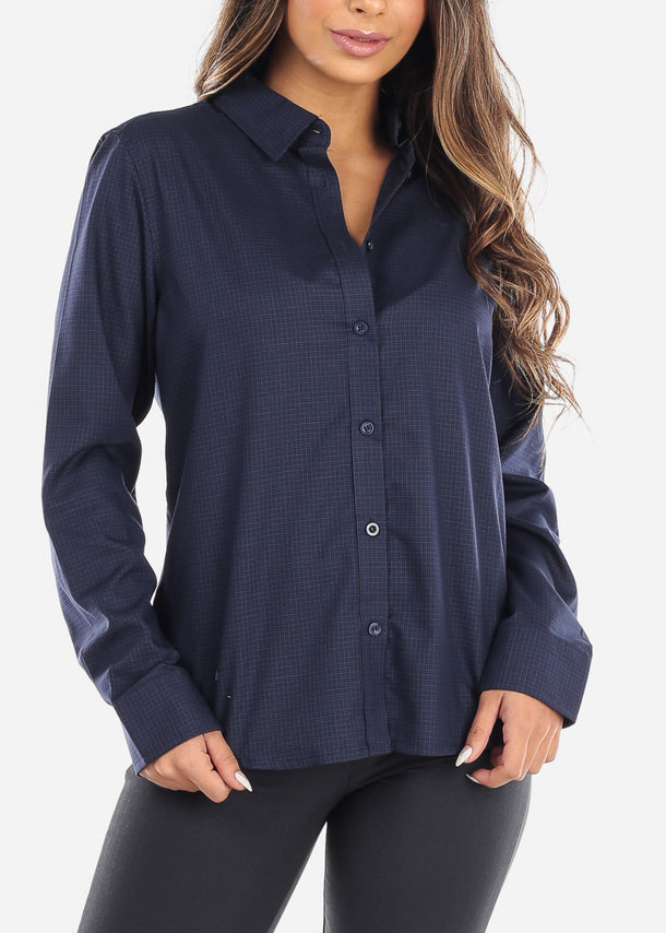 Navy Pincheck Button Down Shirt