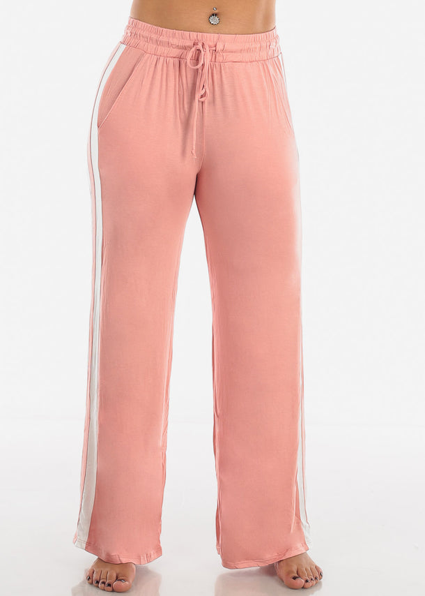 Side Stripe Wide Leg Mauve Pants