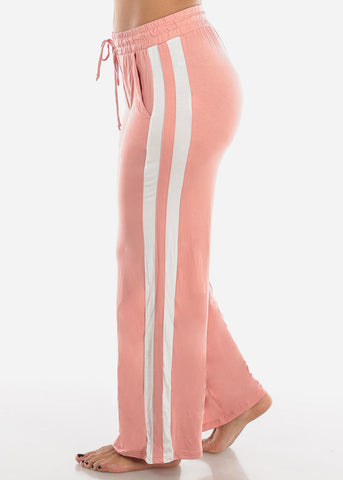 Image of Side Stripe Wide Leg Mauve Pants 70858MAUVE