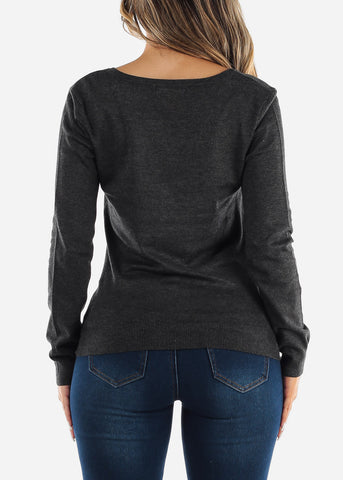 Long Sleeve Charcoal Pullover Sweater