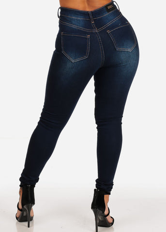 High Waisted Dark Skinny Jeans
