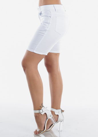 Image of Cute Low Rise Solid White Shorty Shorts With Belt Loops For Women Junior Ladies At discounted Price