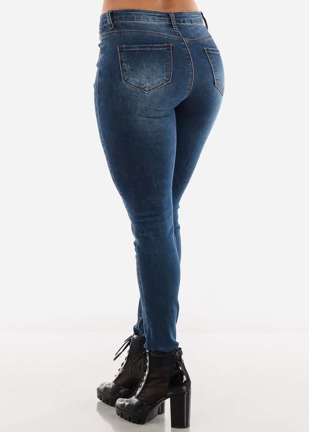 Dark Blue Mid Rise Jeans