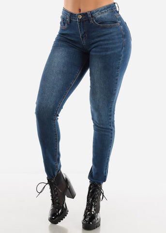 Image of Dark Blue Mid Rise Jeans