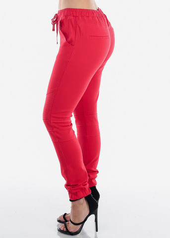 Red Moto Style Joggers Pants