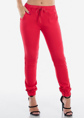 Cheap Red Moto Style Joggers Pants