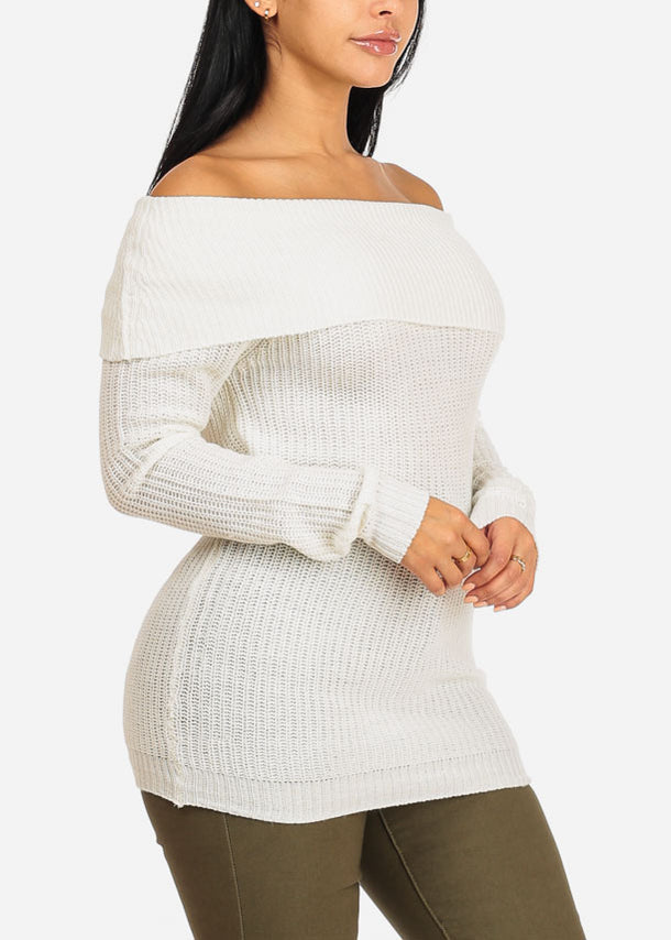 Cowl Neckline Off White Knitted Sweater