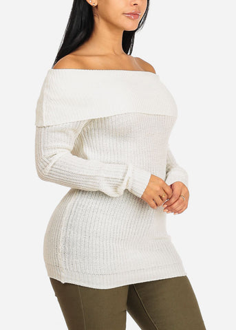 Image of Cowl Neckline Off White Knitted Sweater