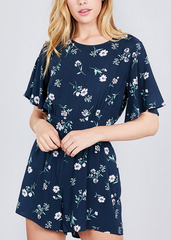 Image of Open Back Navy Floral Print Romper