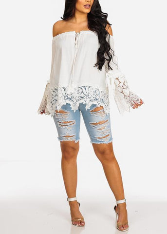 Sexy Trendy Light Wash High Waisted Distressed Capris