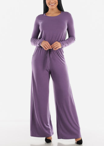 Image of Purple Drawstring Jumpsuit