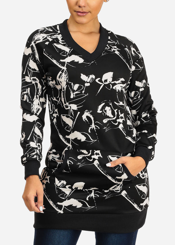 Stylish Long Sleeve V Neckline Black And White  Print Tunic Top