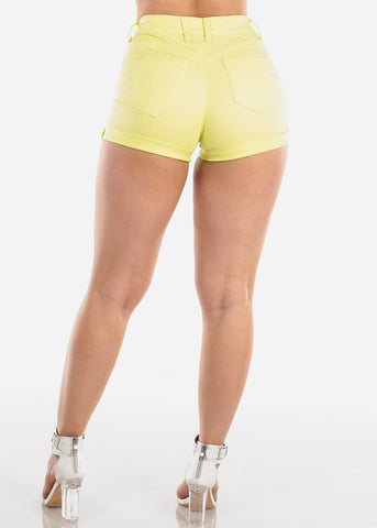 Image of Affordable Butt Lifting Yellow Denim Shorts