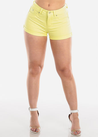Image of Women's Junior Must Have Summer Beach Vacation Booty Butt Lifting Sexy Stylish Yellow Shorts