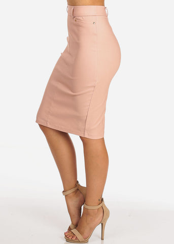 Women's Junior Ladies Stretchy Office Business Professional Career Wear Mauve Pencil Skirt