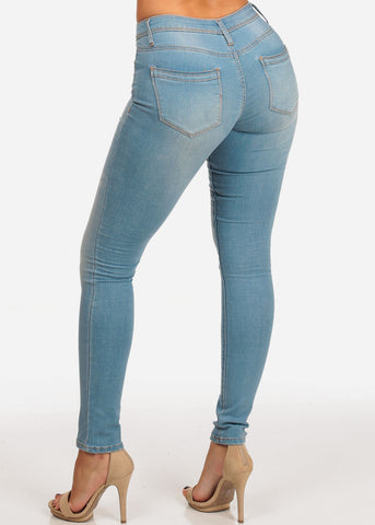 Stylish Light Wash Mid Rise 1 Button Skinny Jeans