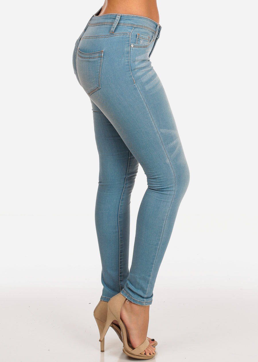 0c6e5e176b7 Stylish Light Wash Mid Rise 1 Button Skinny Jeans. Double tap to zoom