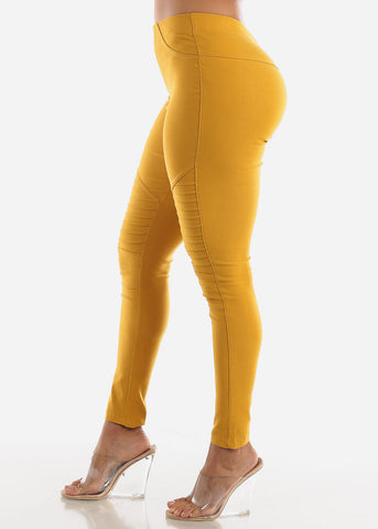 Image of High Waisted Mustard Moto Skinny Pants