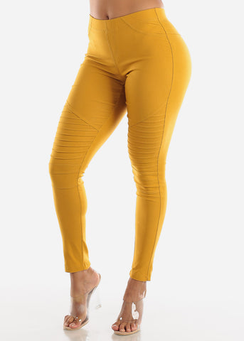 High Waisted Mustard Moto Skinny Pants