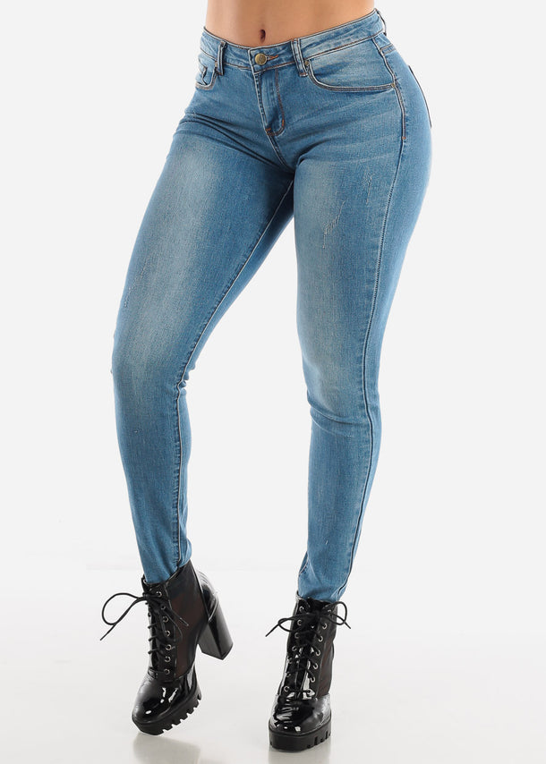 Medium Blue Mid Rise Jeans