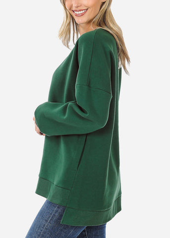 Dark Green High Low Hem Sweatshirt