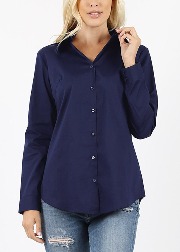 Missy Fit Button Up Navy Shirt
