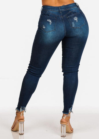Image of High Rise Butt Lifting Distressed Skinny Jeans