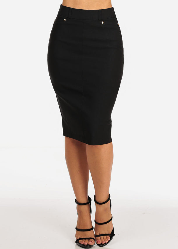 Women's Junior Ladies Stretchy Office Business Professional Career Wear Black Pencil Skirt
