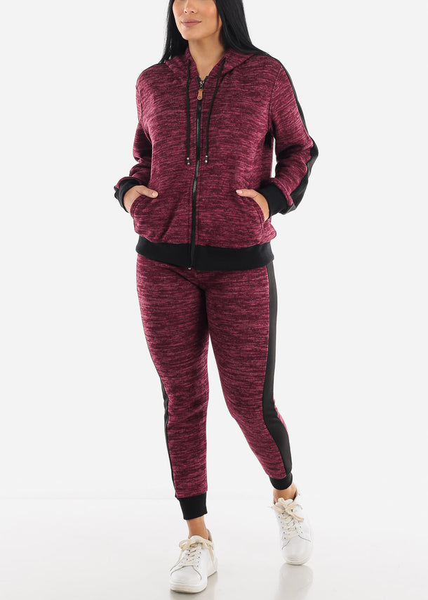 Space Dye Maroon Lounge Set