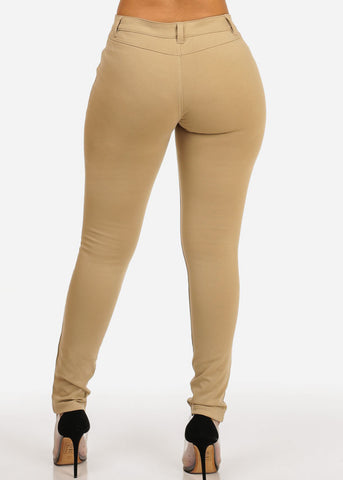 Mid Waist Khaki Stretchy Pants
